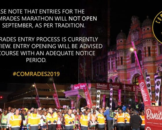 Comrades 2019 entry opening delayed